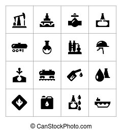Set icons of oil industry isolated on white