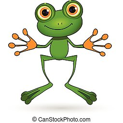 Green Frog - Illustration standing cute green frog with big...
