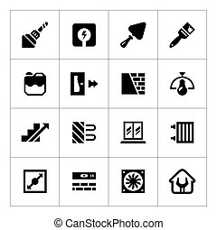 Set icons of repair and building isolated on white