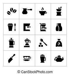 Set icons of coffee isolated on white