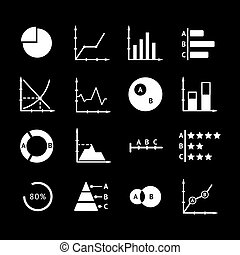 Set icons of diagrams, charts and business infographics