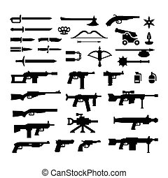 Set icons of weapons isolated on white