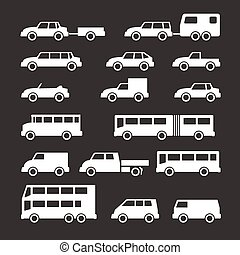 Set icons of car and bus isolated on black