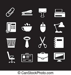 Set icons of office isolated on black