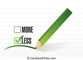 less checklist selection illustration design over a white...