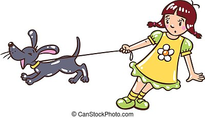 Girl with barking dog - Children vector illustration in...