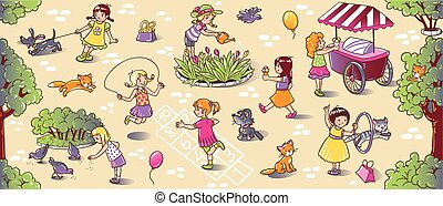 Big seamless pattern with playing girls - Big seamless...