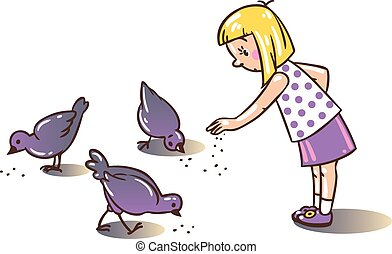 Girl feeding pigeons - Children vector illustration of girl...