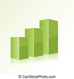 Green step by step chart with positive growth. Volumetric izolir