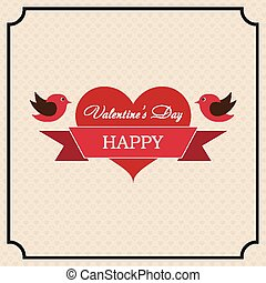 Greeting card Happy Valentine's Day in the old style frame....