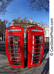 Red phone boxes in London, UK - Red phone boxes in London,...