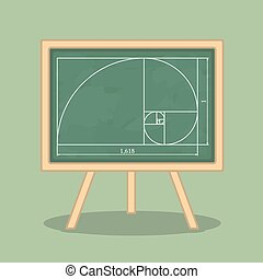 Golden Ratio - Golden ratio on blackboard, vector eps10...
