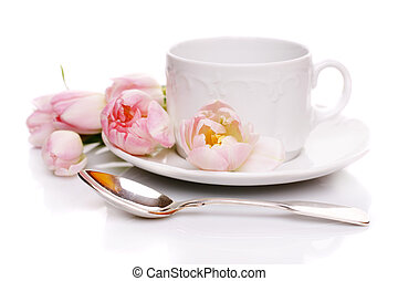 Mothers Day - Tea cup with pink tulips on white background