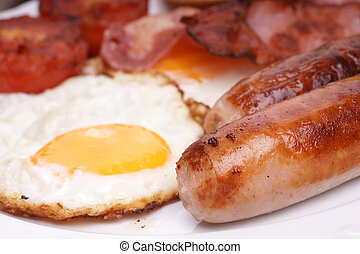 Cooked breakfast - Freshly cooked breakfast with sausages...