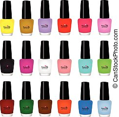 nail varnish multicolored on white background