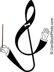 treble clef as conductor