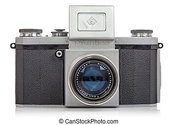 Old fashioned SLR Camera Praktica - Praktica is a brand of...