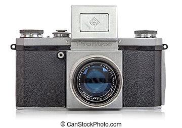 antigas, formado, SLR, câmera, Praktica,