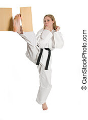 Martial Arts Woman - Black belt female martial artist doing...