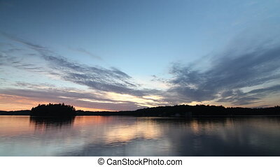 Sunset on Lake Rosseau. Time lapse.