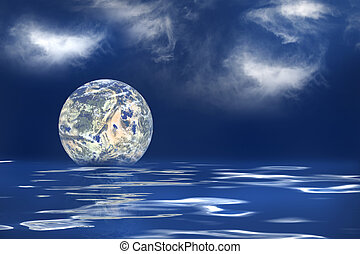 Global Warming - The earth floating in an ocean to symbolize...