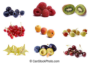 Vitamin C - Poster of nine fresh fruits over white.