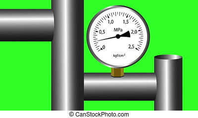 gas manometer working Green screen background 4k animation...