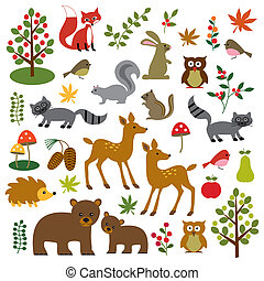 woodland wildlife clipart