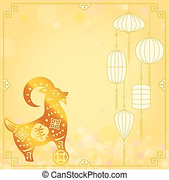 Chinese Gold CNY sheep illustration background on defocused...