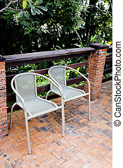 Out door couple of rattan chairs