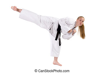 Martial Arts - Female Third Degree Black Belt throwing a...