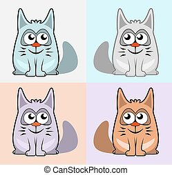 set colorful cartoon cats - set four isolated colorful...