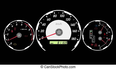 Speedometer sports car, start acceleration and braking black...