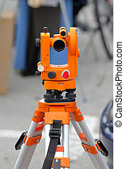 Theodolite optical survey device at tripod