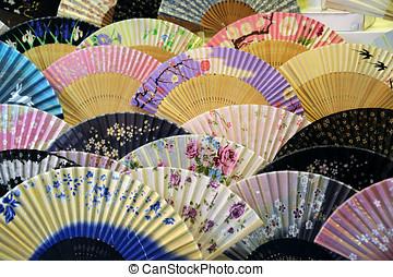 japonés, mano, ventiladores,