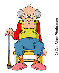 Nice elderly Grandpa is sitting on a small stool