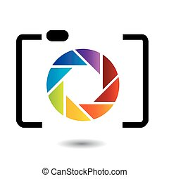 rainbow colored photography logo
