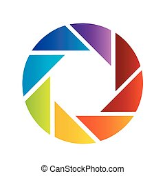 rainbow colored photography shutter logo