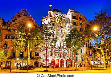 BARCELONA, SPAIN - SEPT 04, 2014: Night outdoor view Gaudi's...