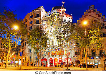 BARCELONA, SPAIN - SEPT 04, 2014: Night outdoor view Gaudis...