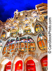 BARCELONA, SPAIN - SEPT 04, 2014: Night outdoor view Gaudi's...