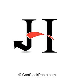 Logo abstract letter H - Logo abstract letter H with red...
