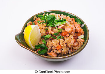seafood fried rice in bowl isolated on white background