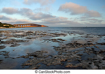Bahia Honda Bridge - Florida Keys seascape with the historic...
