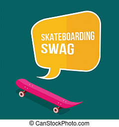 skateboard with thought bubbles on green background flat...