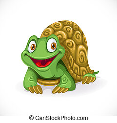 Cute cartoon turtle isolated on white background