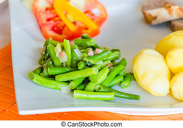 Close up, Green Beans - Close-up, fresh roast pork with...