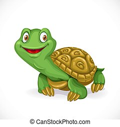 Cute little cartoon turtle isolated on white background
