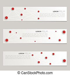 A set of modern vector banners with volume paper with red...