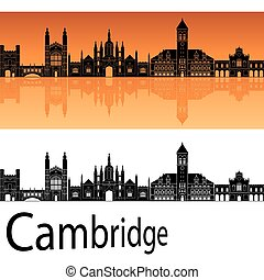 Cambridge skyline in orange background in editable vector...